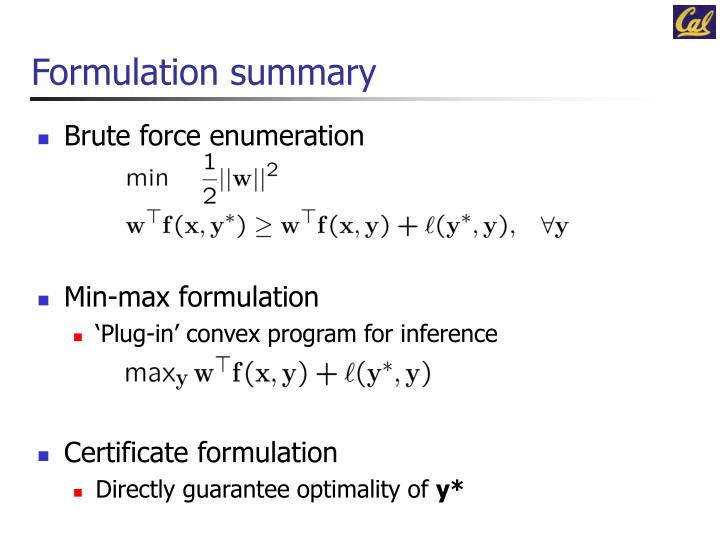 Formulation summary