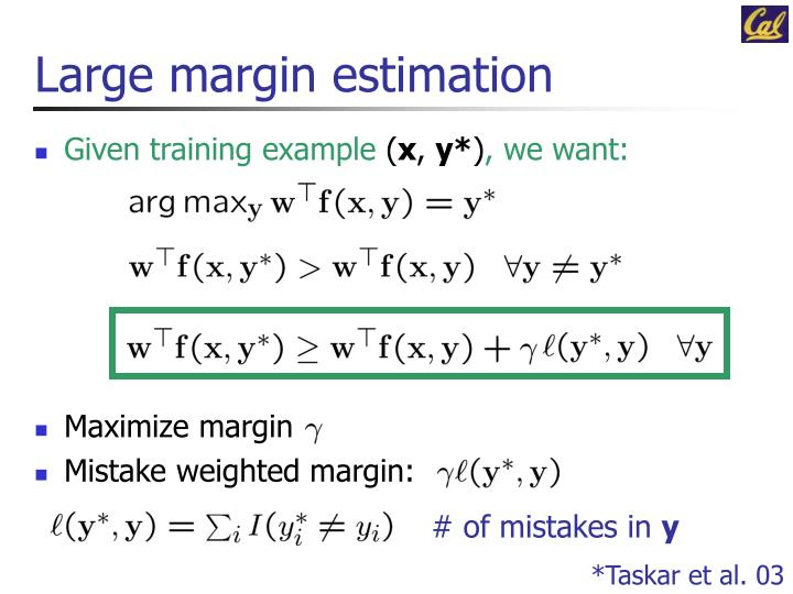 Large margin estimation