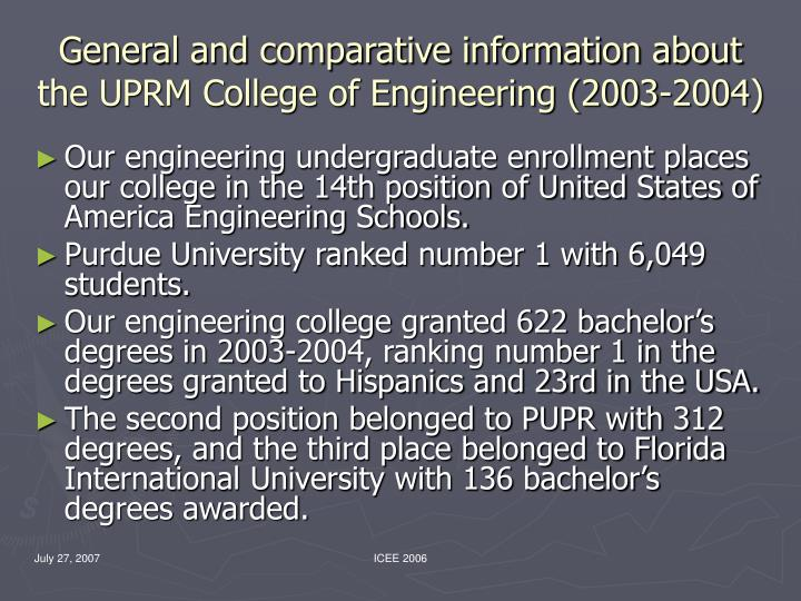 General and comparative information about the UPRM College of Engineering (2003-2004)