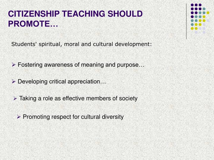 CITIZENSHIP TEACHING SHOULD PROMOTE…
