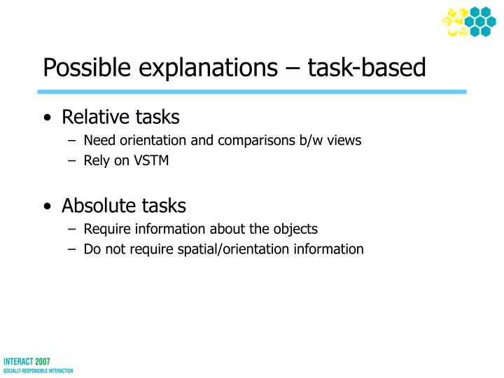Possible explanations – task-based