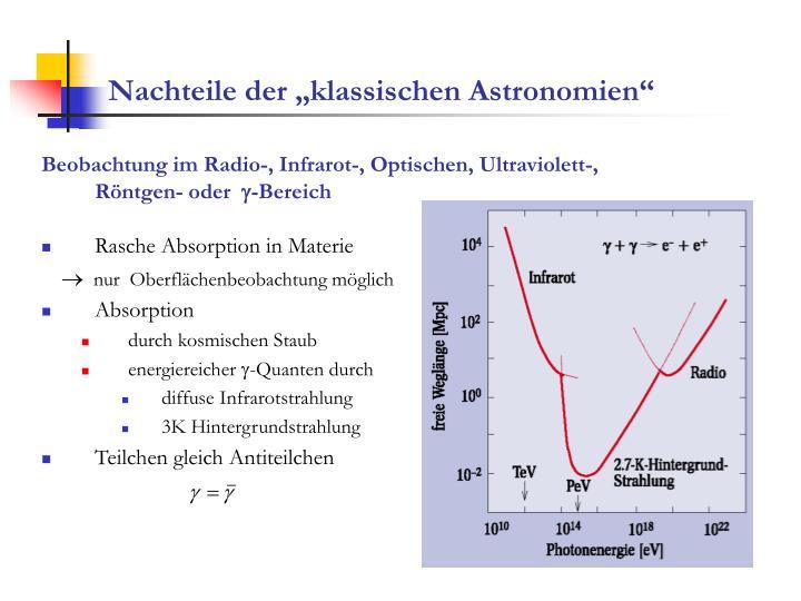 """Nachteile der """"klassischen Astronomien"""""""
