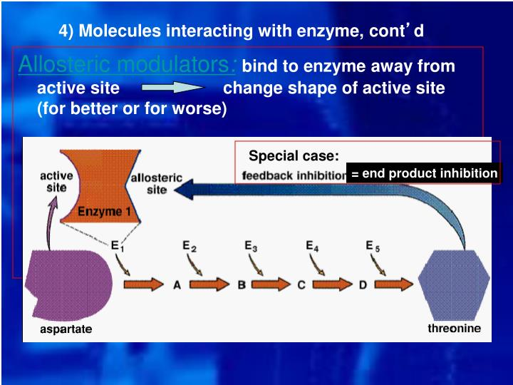 4) Molecules interacting with enzyme, cont
