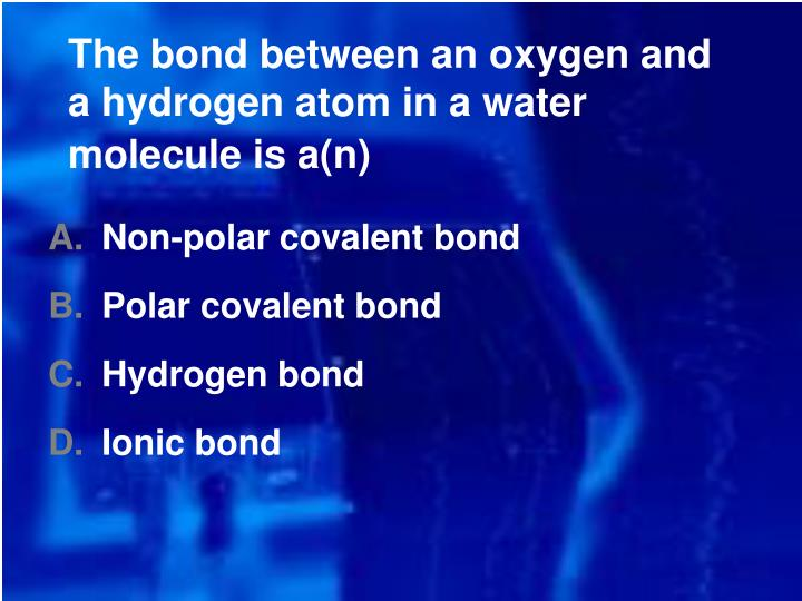 The bond between an oxygen and a hydrogen atom in a water molecule is a(n)