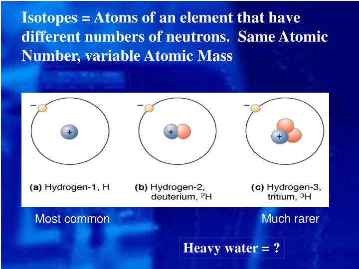 Isotopes = Atoms of an element that have different numbers of neutrons.  Same Atomic Number, variable Atomic Mass