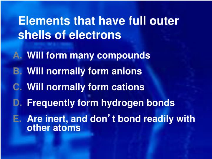 Elements that have full outer shells of electrons