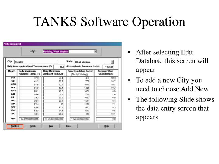 TANKS Software Operation