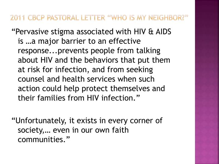 "2011 CBCP Pastoral letter ""who is my neighbor?"""