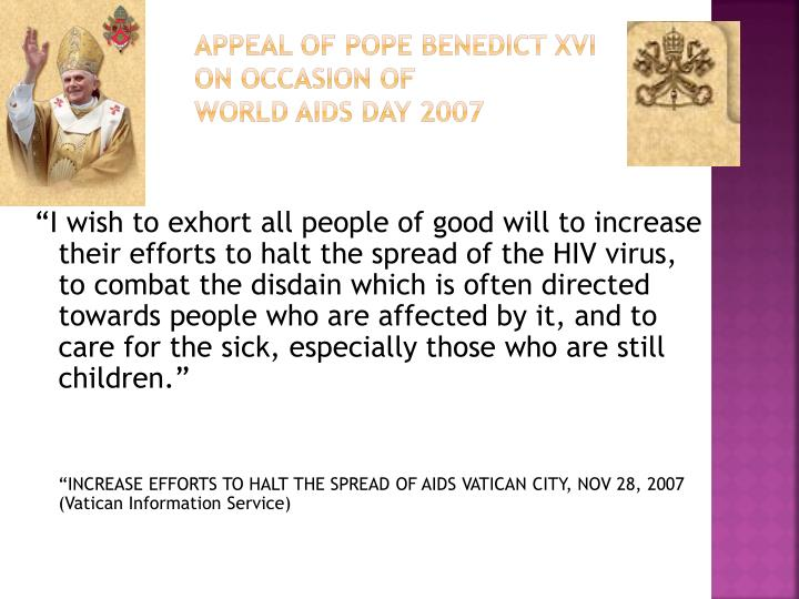 Appeal of Pope Benedict XVI on occasion of
