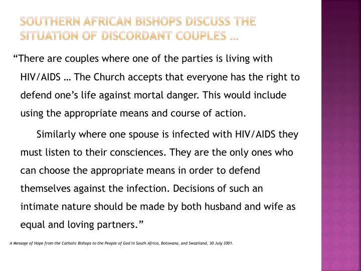 Southern African Bishops discuss the situation of discordant couples …