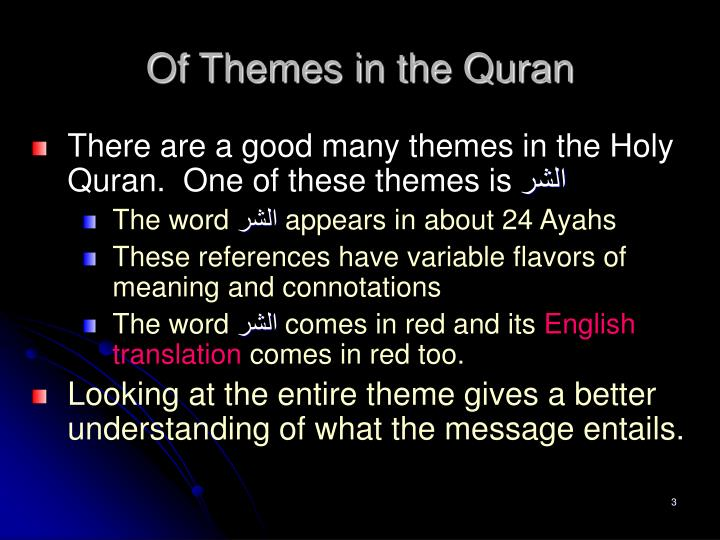Of Themes in the Quran