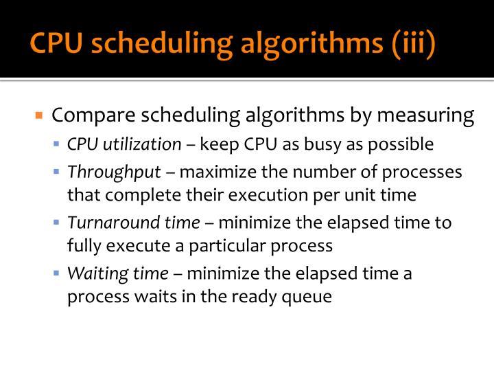CPU scheduling algorithms (iii)