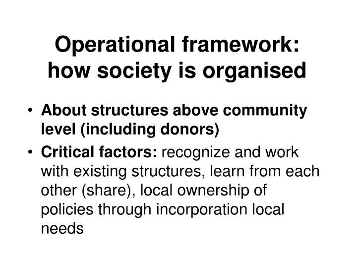 Operational framework: