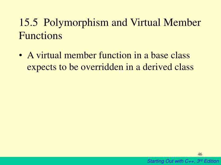15.5  Polymorphism and Virtual Member Functions