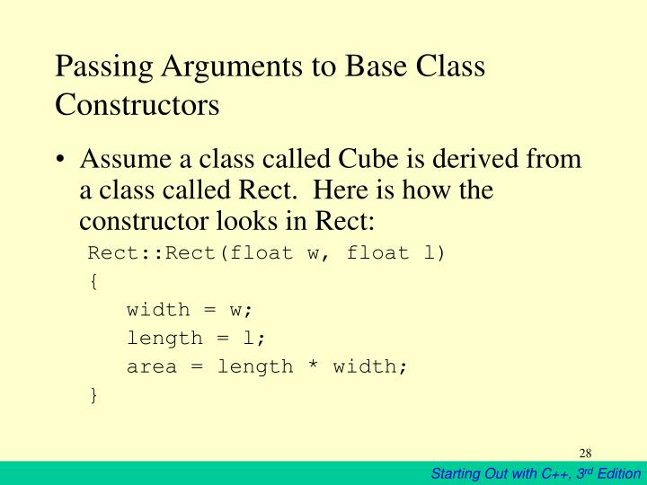 Passing Arguments to Base Class Constructors