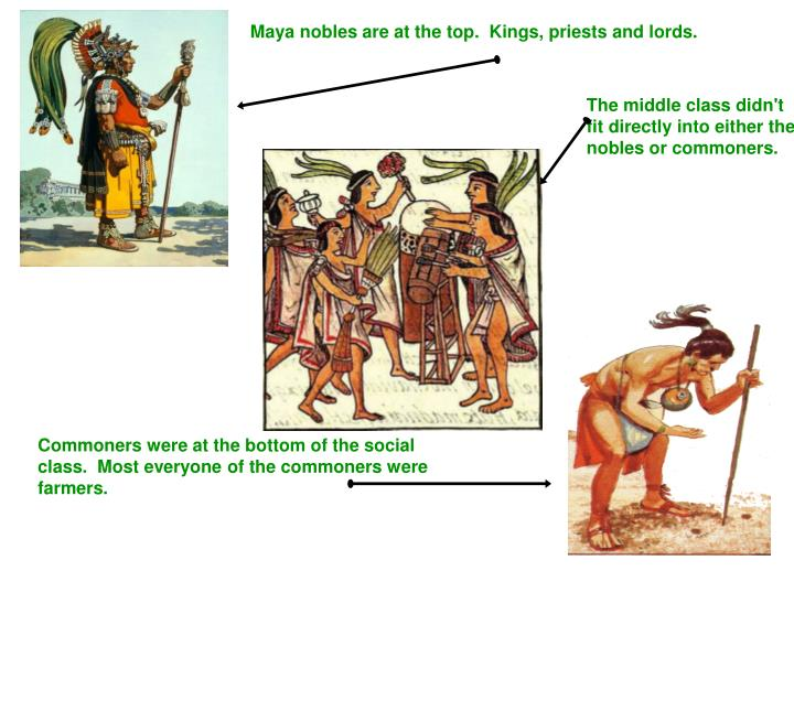 Maya nobles are at the top.  Kings, priests and lords.