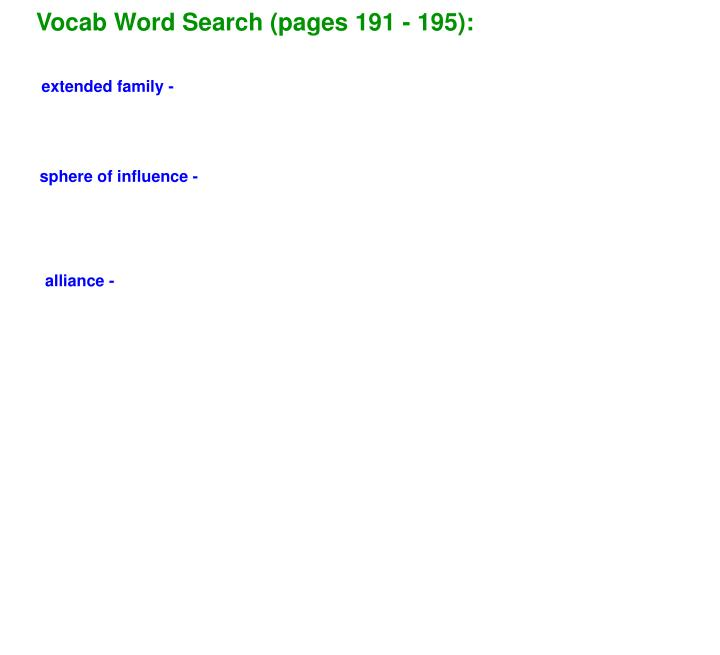 Vocab Word Search (pages 191 - 195):
