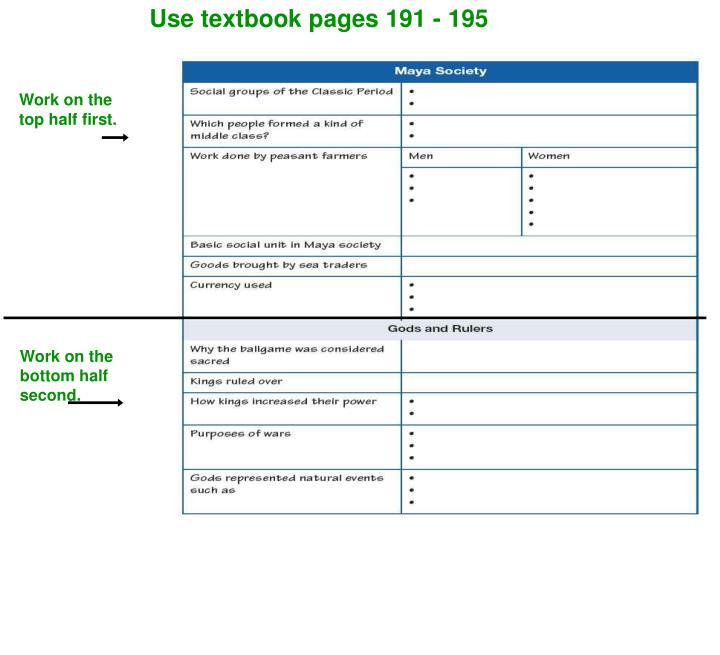 Use textbook pages 191 - 195