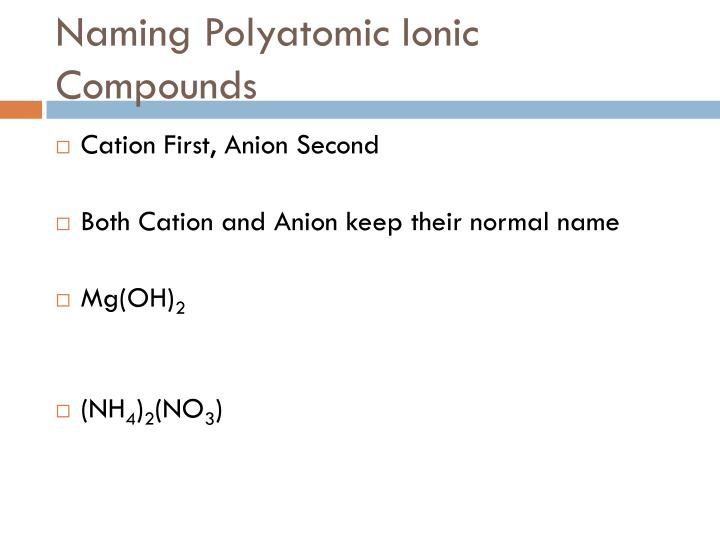 Naming Polyatomic Ionic Compounds