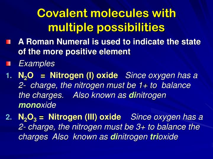 Covalent molecules with multiple possibilities