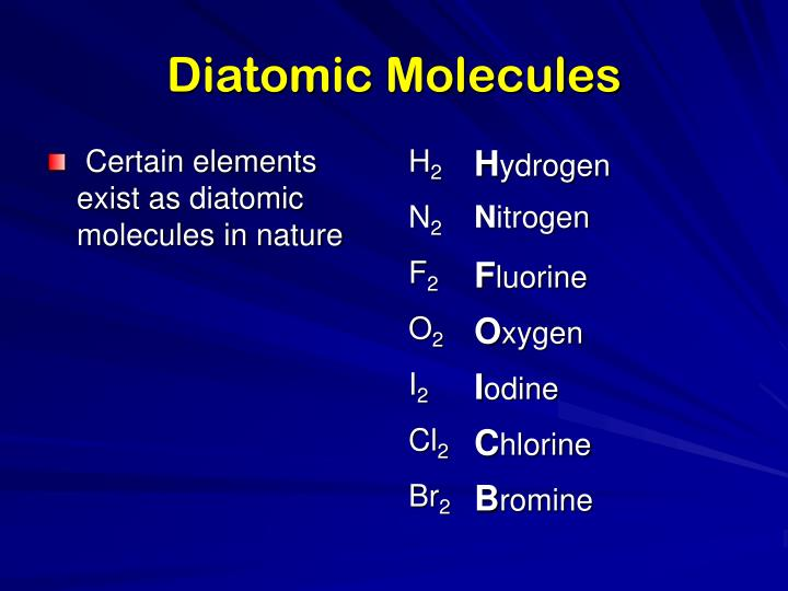 Diatomic Molecules