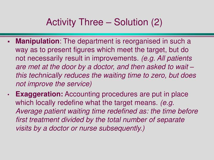 Activity Three – Solution (2)