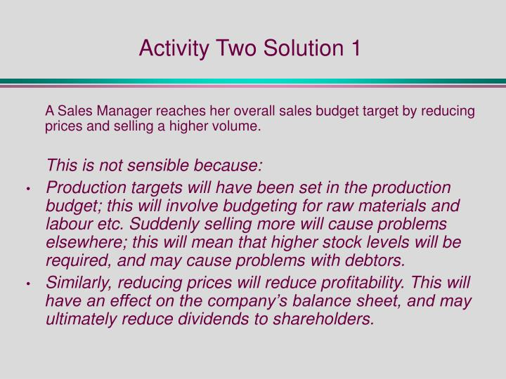 Activity Two Solution 1
