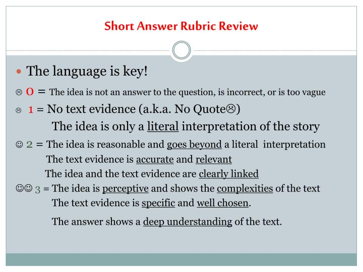 Short answer rubric review