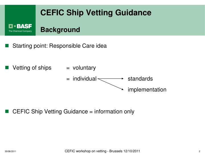 Cefic ship vetting guidance background