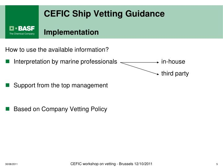 CEFIC Ship Vetting Guidance