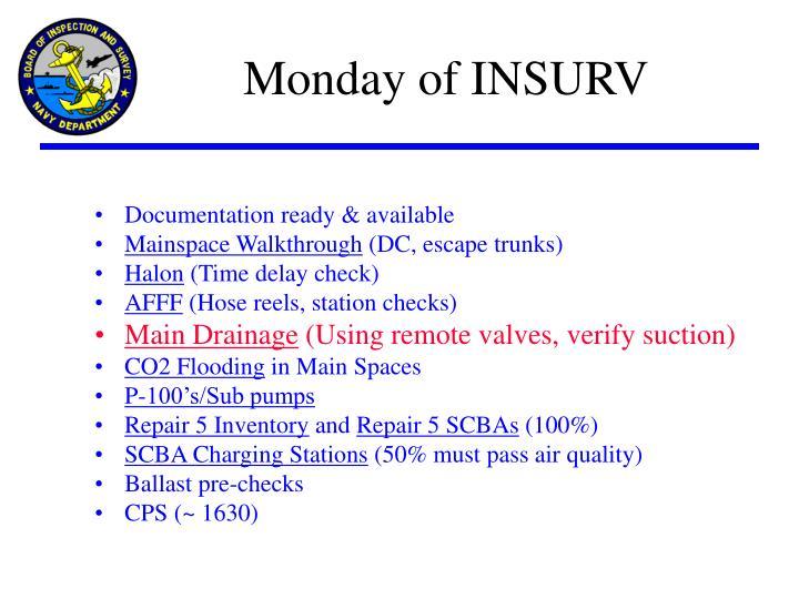 Monday of INSURV