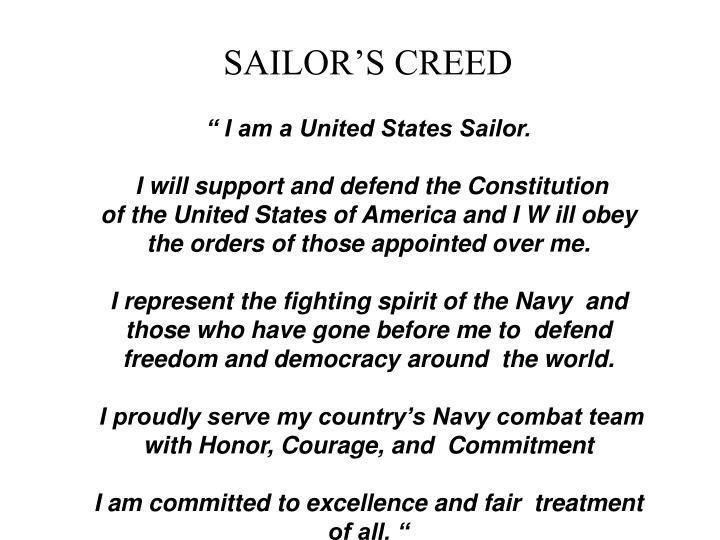 SAILOR'S CREED