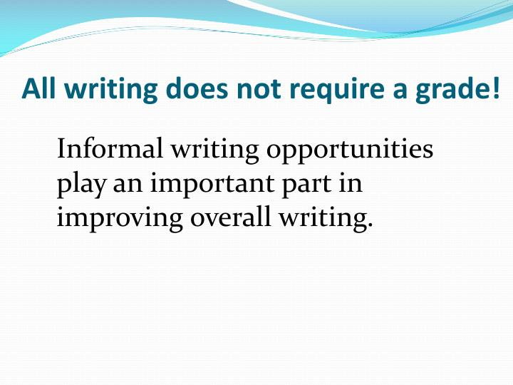 All writing does not require a grade!