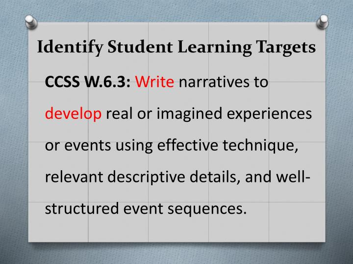 Identify Student Learning Targets