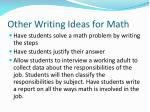 other writing i deas for math