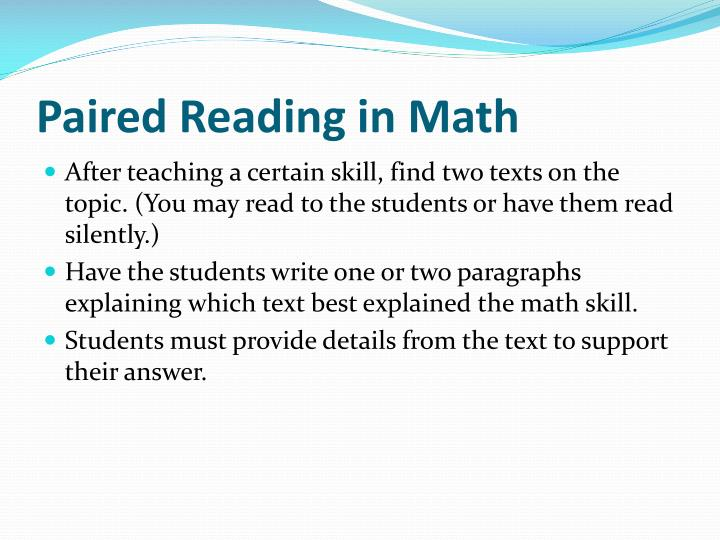 Paired Reading in Math