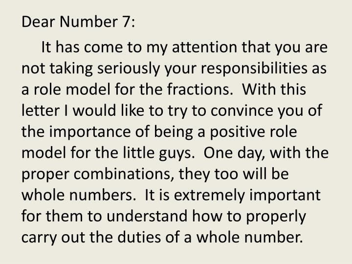 Dear Number 7: