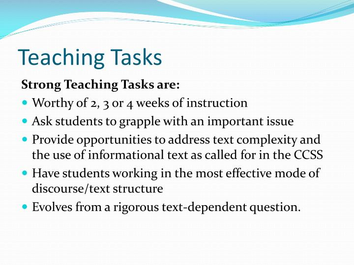 Teaching Tasks