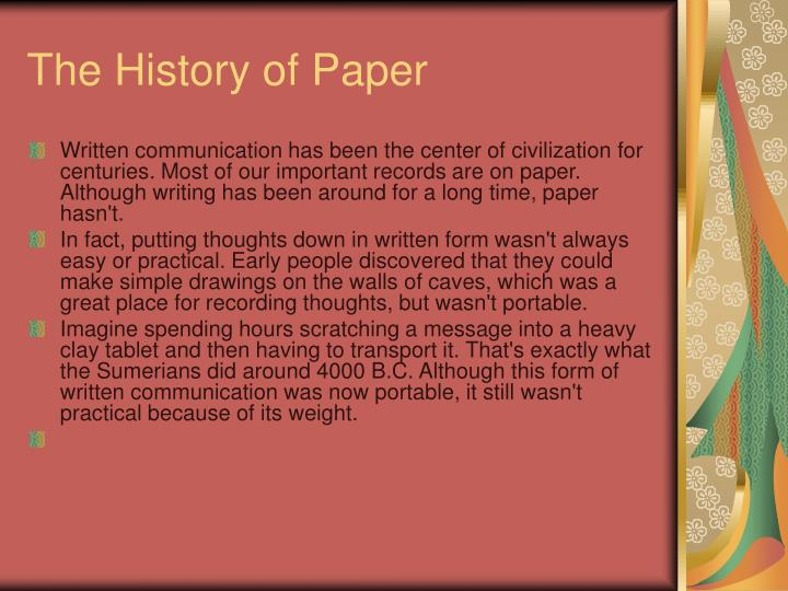 The history of paper