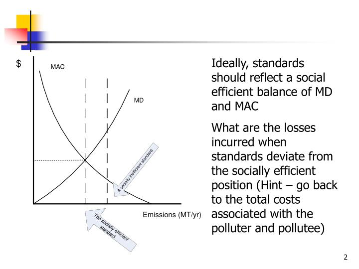Ideally, standards should reflect a social efficient balance of MD and MAC
