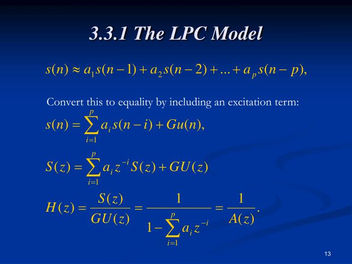 3.3.1 The LPC Model