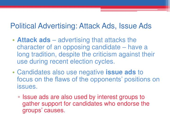 political attack ads The 2019 canadian federal election is still 15 months away, but already it seems that the major political parties are spinning up their campaign machines and starting to churn out everybody's favourite piece of political propaganda: attack ads attack ads have a rich history in north america over .