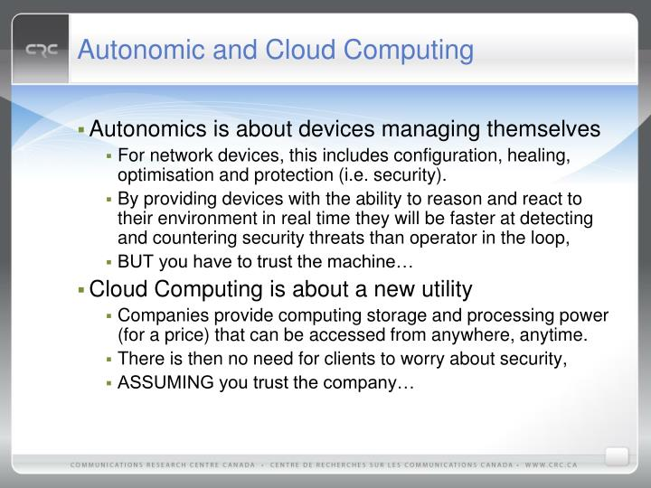 Autonomic and Cloud Computing