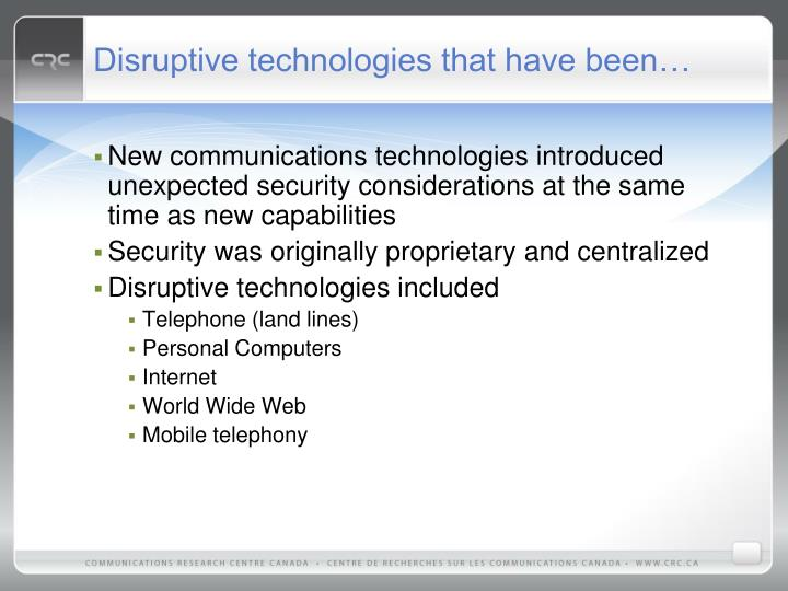 Disruptive technologies that have been…