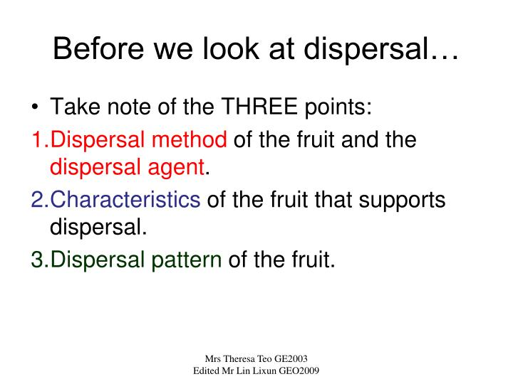 Before we look at dispersal…