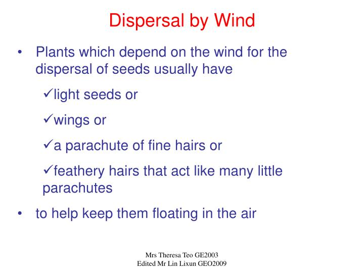 Dispersal by Wind