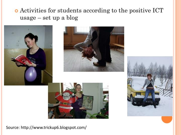 Activities for students according to the positive ICT usage – set up a blog