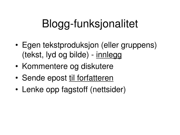 Blogg-funksjonalitet