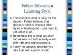felder silverman learning style