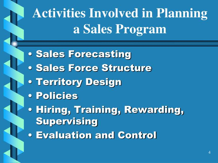 Activities Involved in Planning a Sales Program